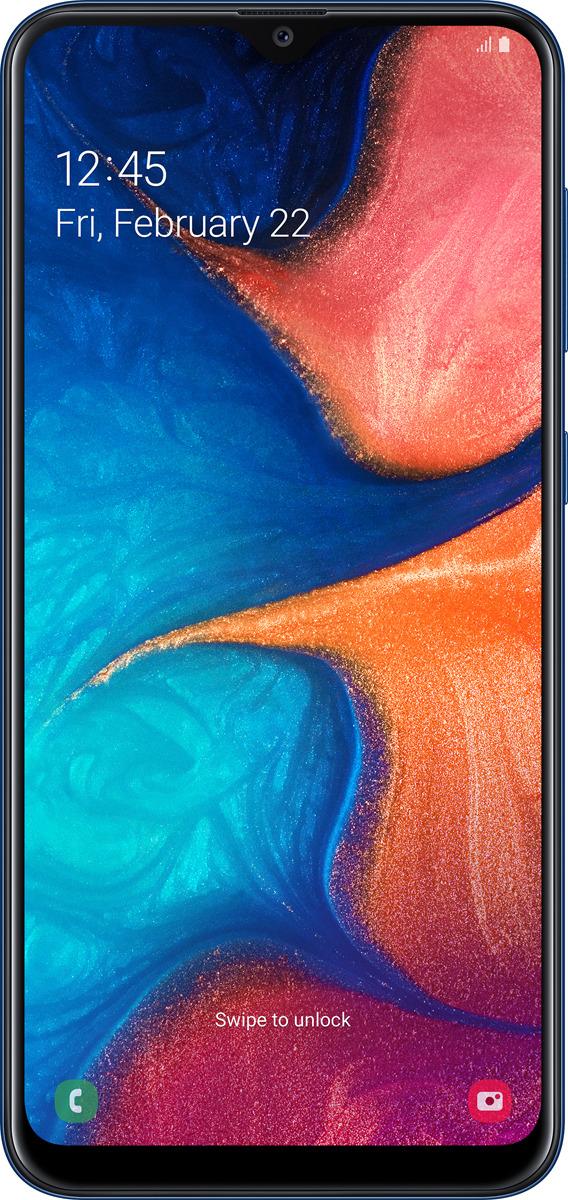 Смартфон Samsung Galaxy A20 3/32GB, синий телефоны самсунг галакси все модели цены фото