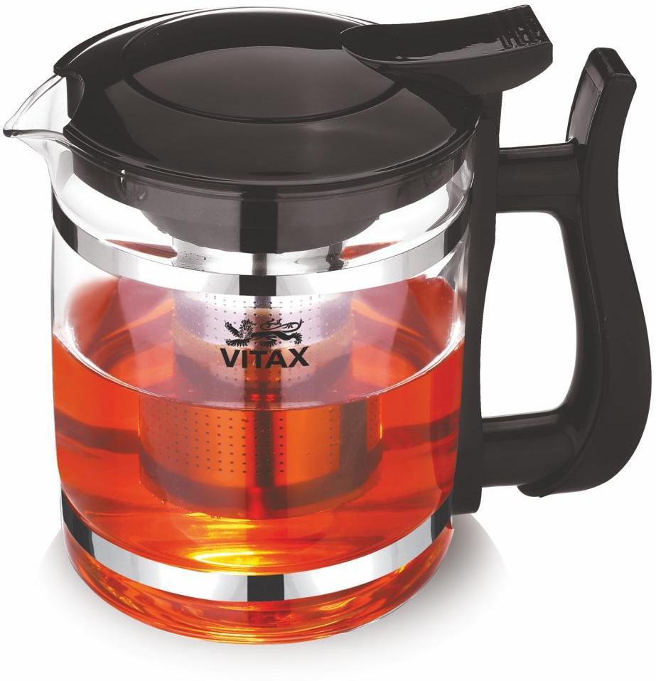 Чайник заварочный Vitax Vitax-3302, 1500 млVX-3302Чайник заварочный Vitax VX-3302 в прозрачном стеклянном корпусе с пластиковыми элементами черного цвета станет незаменимым атрибутом семейного чаепития. Он позволит насладиться горячим чаем, раскрыв его аромат и вкус. В комплекте с чайником предусмотрен фильтр, изготовленный из нержавеющей стали, что говорит о его долговечности. Модель поддерживает использование в посудомоечной машинки, избавляя хозяйку от забот.Заварочный чайник рассчитан на объем 1.5 л. Vitax Комптон VX-3302 безопасен для использования, ведь он оборудован ненагревающейся ручкой из пластика. Благодаря удобной системе открывания крышки пользоваться устройством очень легко.Материал: жаропрочное стекло и пластик;Фильтр: заварочная колба из нержавеющей стали;