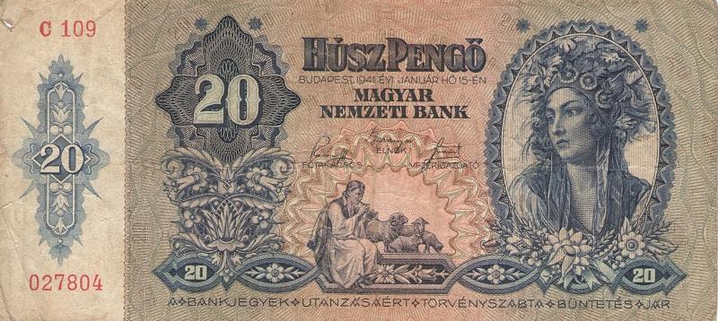 Банкнота  номиналом 20 пенгё. Венгрия. 1941 год