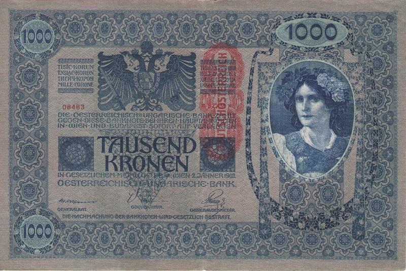Банкнота номиналом 1000 крон. Австрия. 1919 год банкнота австрия р75