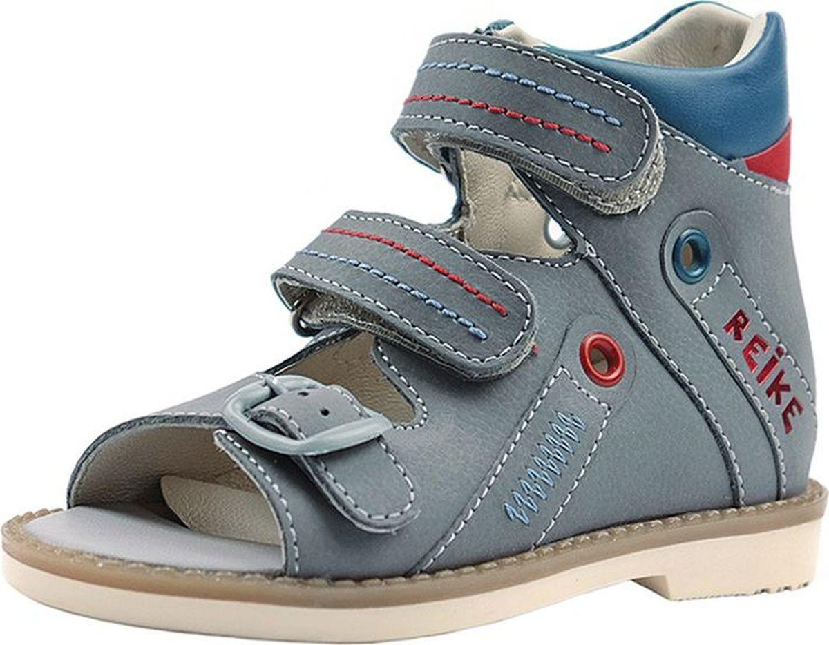 Сандалии для мальчики Reike, цвет: серый. AS18-040. Размер 23AS18-040Сандалии для мальчика SERIES REIKE ORTO AS18-040 серые выполнены из натуральной высококачественной кожи. Для применения индивидуальных вкладных ортопедических стелек модели этой серии имеют увеличенную полноту. Сандалии изготовлены с увеличенной по высоте и уплотненной пяточной частью. Обувь этой серии оснащается жесткими задниками с удлиненными крыльями по боковым сторонам. Такая конструкция задника, в сочетании с индивидуальной орто-стелькой и подошвой с каблуком «Томаса», оказывают профилактическое воздействие при вальгусном или варусном отклонении от нормы. Для надежной фиксации индивидуальных вкладных стелек, в носочной части основных стелек сделаны специальные кожаные «карманы». Сандалии комплектуются фирменными кожаными полустельками, которые при необходимости наклеиваются поверх индивидуальных стелек. При выборе индивидуальных вкладных стелек для сандалий серии «REIKE ORTO» проконсультируйтесь у врача-ортопеда. Сандалии подойдут для прогулок в теплое время года, а также для сменной обуви в детском саду. Обувь серии «REIKE ORTO» способствует формированию правильной походки, и оказывает профилактическое воздействие при деформации стопы ребенка. Состав: натуральная кожа, подошва из термоэластопласта (ТЭП).