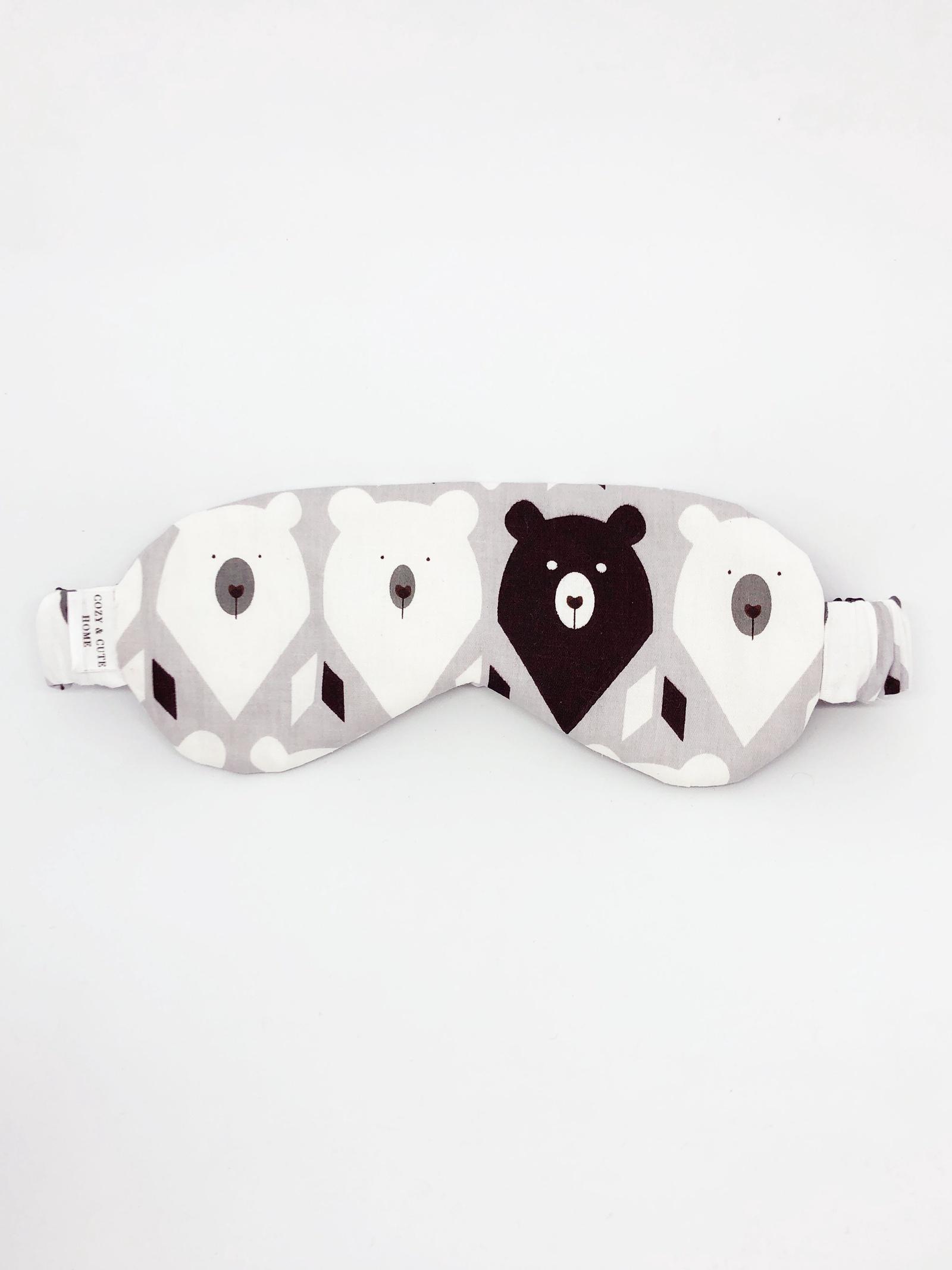 Маска для сна Cozy&Cute Home Мишки на сером, черный, белый, серый