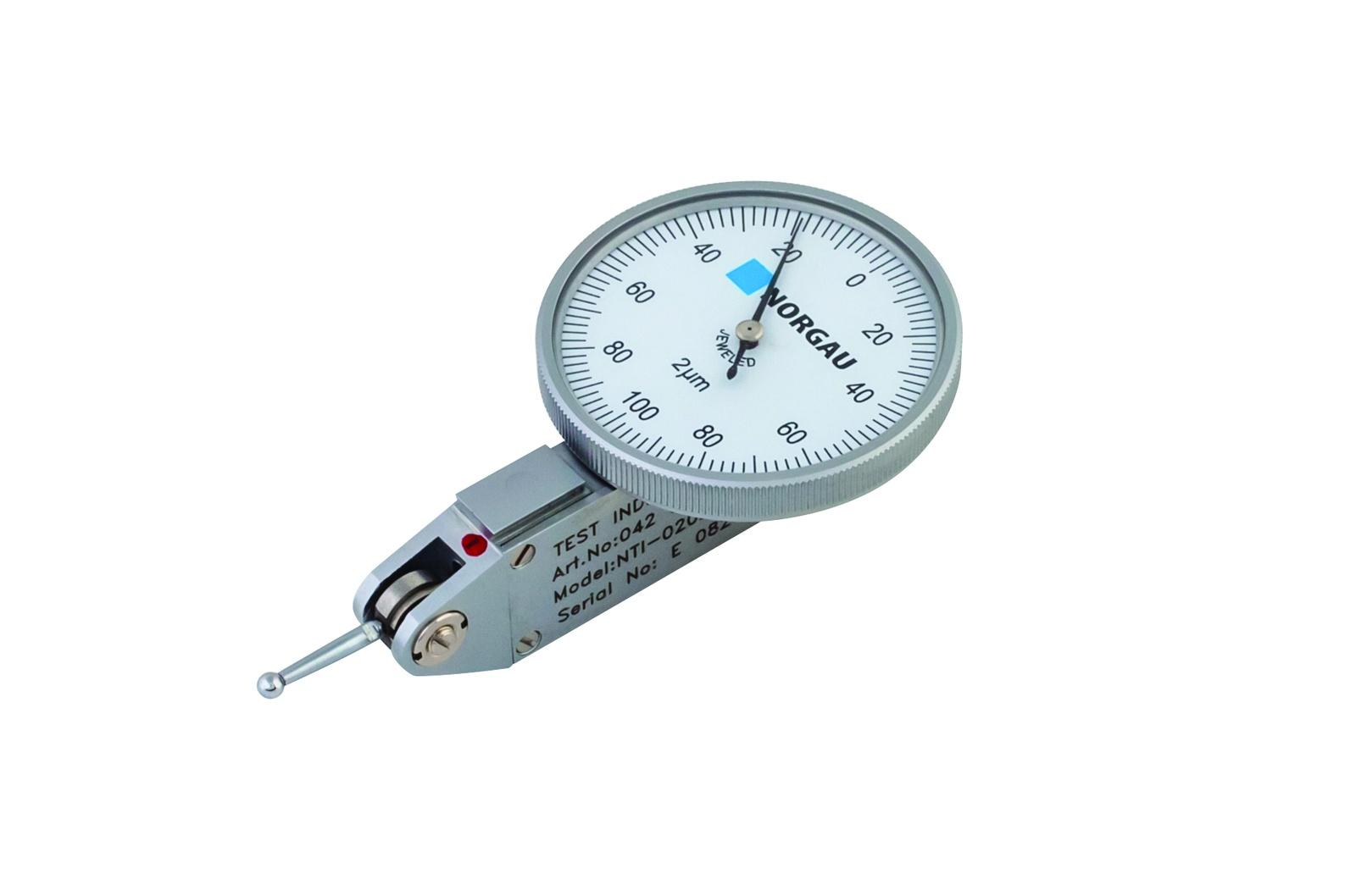 Измерительная головка NORGAU рычажная 0,2 мм/0,002 мм, тип NTI-02021, 042083002042083002Головка измерительная рычажная 0,8 мм/0,01 мм, тип NTI-08101. Контакт возможен для обоих направлений измерения. Вращающийся циферблат для установки нуля. Антимагнитный корпус. Механизм на агатовых подшипниках для долгого срока службы. На корпусе головки 3 направляющих типа «ласточкин хвост» для крепления. Шкала - 0-40-0. Диаметр циферблата - 39мм. Поставка в пластиковом футляре с мягким ложементом, с хвостовиком для крепления диаметром 8 мм. Внесено в Государственный реестр средств измерений. Номер 63987-16