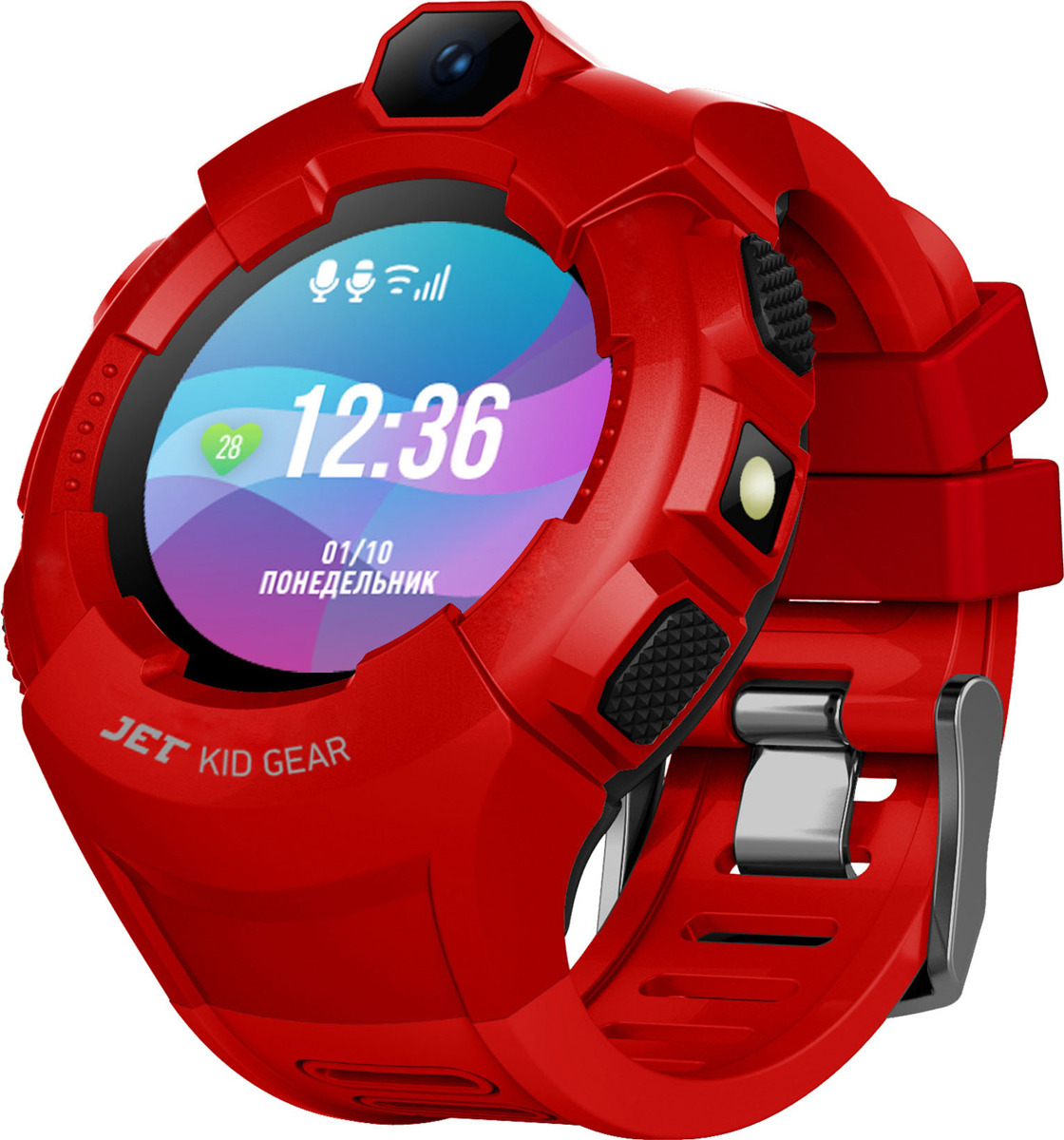 Смарт-браслет для детей Jet Kid Gear, красный, черный