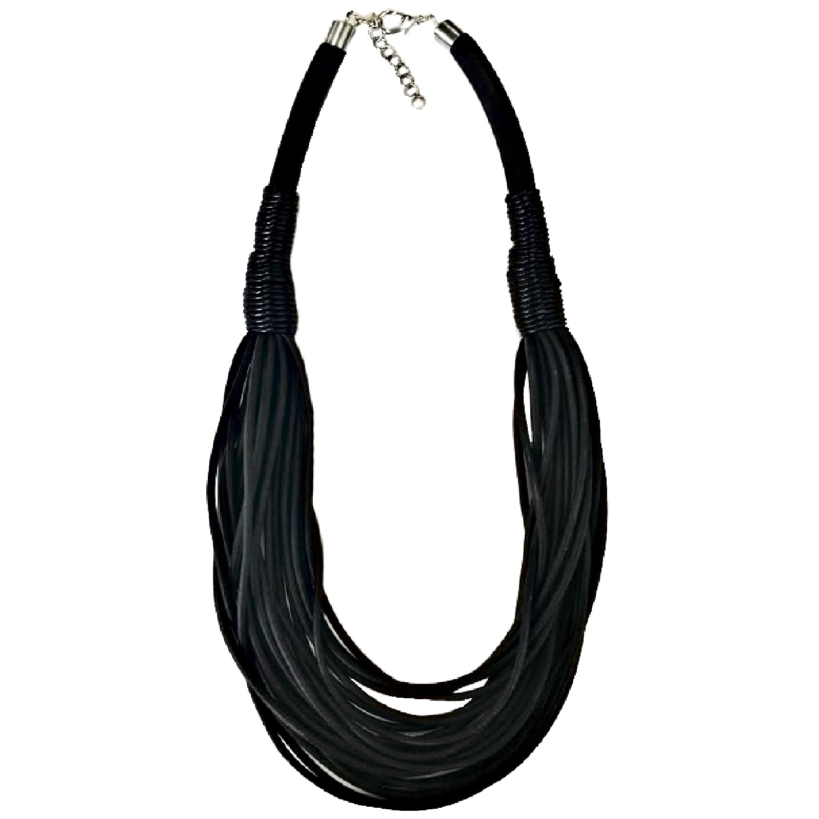 Колье/ожерелье бижутерное Модные истории 12/1377, черный12/1377Короткое ожерелье черного цвета выполнено в виде многорядья каучуковых шнурков. Такой аксессуар нравится смелым и дерзким женщинам, которые в восторге от элегантных, но нестандартных вещиц. Ожерелье приятное на ощупь, уместно как в повседневном, так и в спортивном, и этническом стилях. Не вызывает аллергии. Уход за изделием из каучука: очистка только сухой, мягкой салфеткой без каких-либо растворов и химии, не желателен контакт с водой.