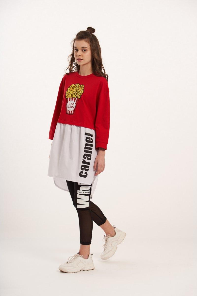 Платье для девочки Nota Bene, цвет: красный. 1л9213702а-7. Размер 1401л9213702а-7