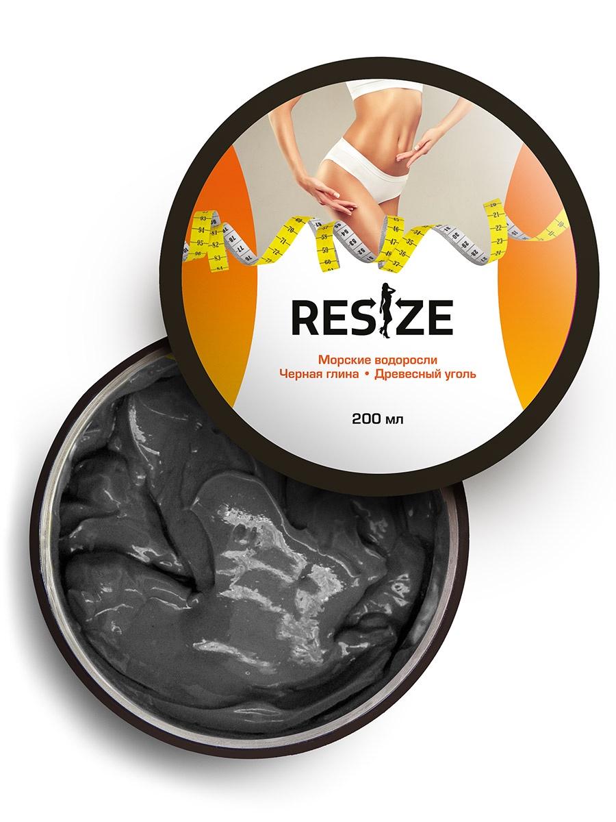 Маска косметическая ReSize Детокс-обертывание с древесным углем и глиной, антицеллюлитное, для экспресс похудения, 200 для похудения уголь