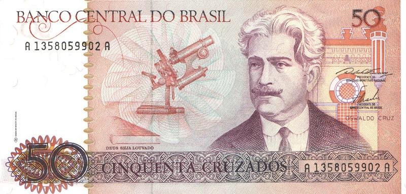 Банкнота номиналом 50 крузадо. Бразилия. 1986-1988 года банкнота номиналом 5 новых крузадо бразилия 1989 год