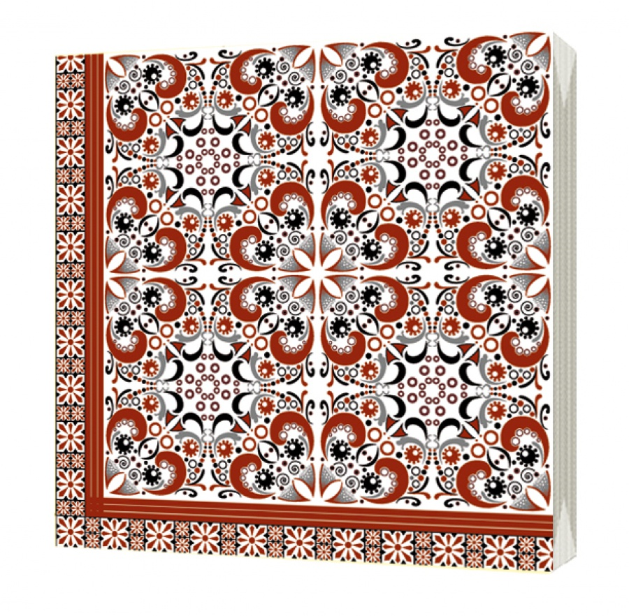 Салфетки бумажные Bulgaree Green Арабеска, разноцветный4997Декоративные трехслойные салфетки для сервировки стола полноцветной печати из 100% целлюлозы европейского качества. В упаковке 20 салфеток, размер салфетки в развороте 33 см на 33 см.