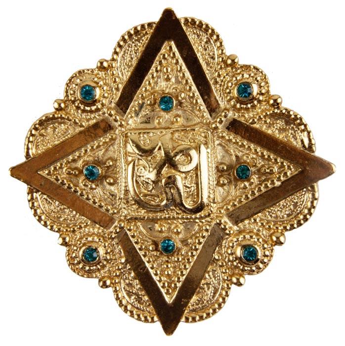 Брошь бижутерная Butler & Wilson Золото Востока, Бижутерный сплав, Кристаллы, золотой, голубой брошь от butler
