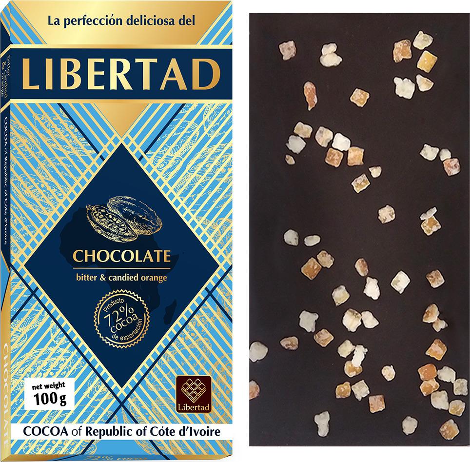 Шоколад Libertad Горький 72% с апельсином, 100 г шоколад merci горький 72%