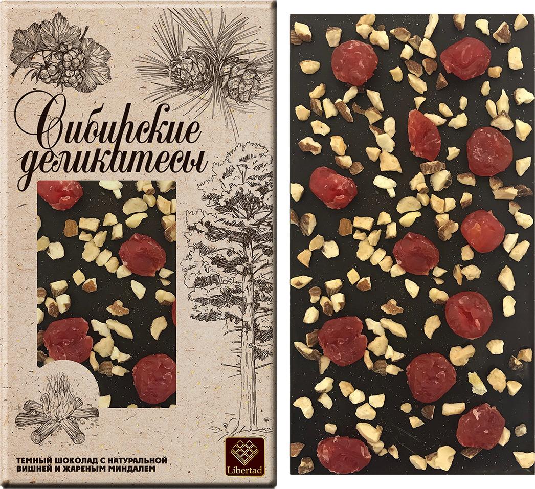 Шоколад Libertad Сибирские деликатесы темный с натуральной вишней и жаренным миндалем, 100 г бабаевский темный шоколад cote d ivoire с карамелизованным миндалем 90 г