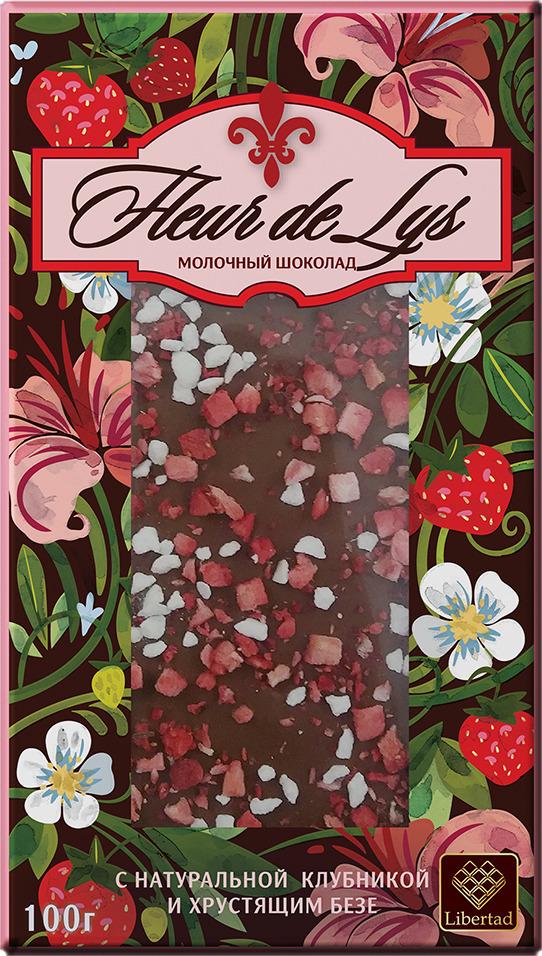 Шоколад Libertad Флер-Де-Лис молочный с натуральной клубникой и хрустящим безе, 100 г победа вкуса шоколад с клубникой белый шоколад с кусочками клубники 250 г
