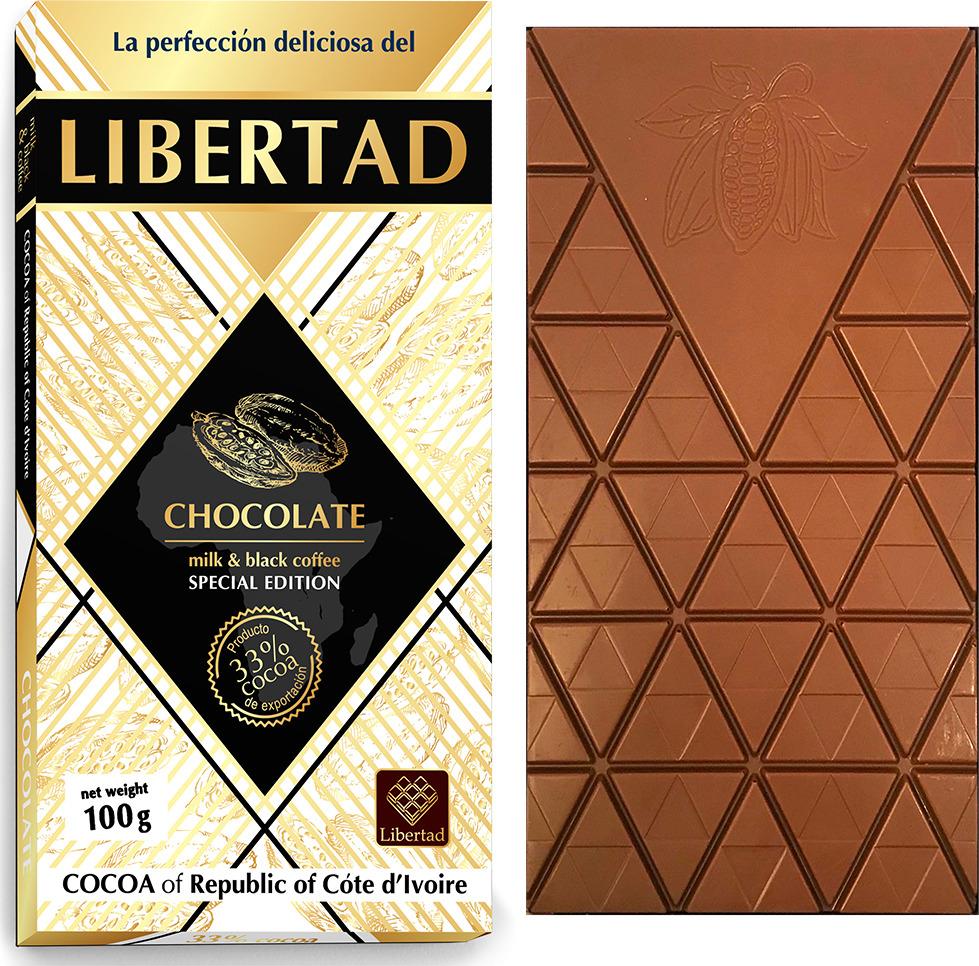 Шоколад Libertad Молочный с кофе, 100 г сhokocat кот менеджер молочный шоколад 50 г