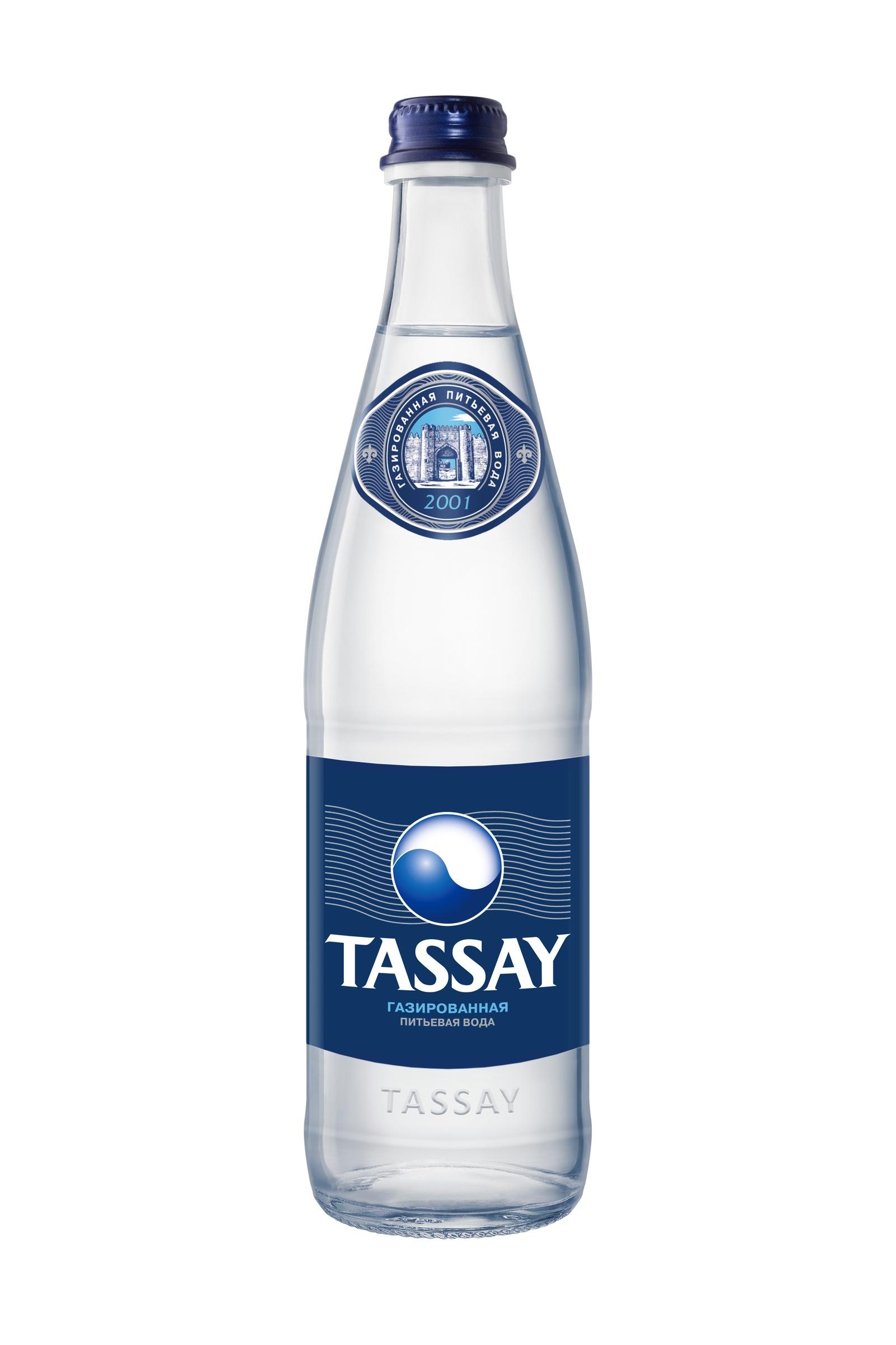 Вода TASSAY природная питьевая, 0.5 л, стекло, газированная
