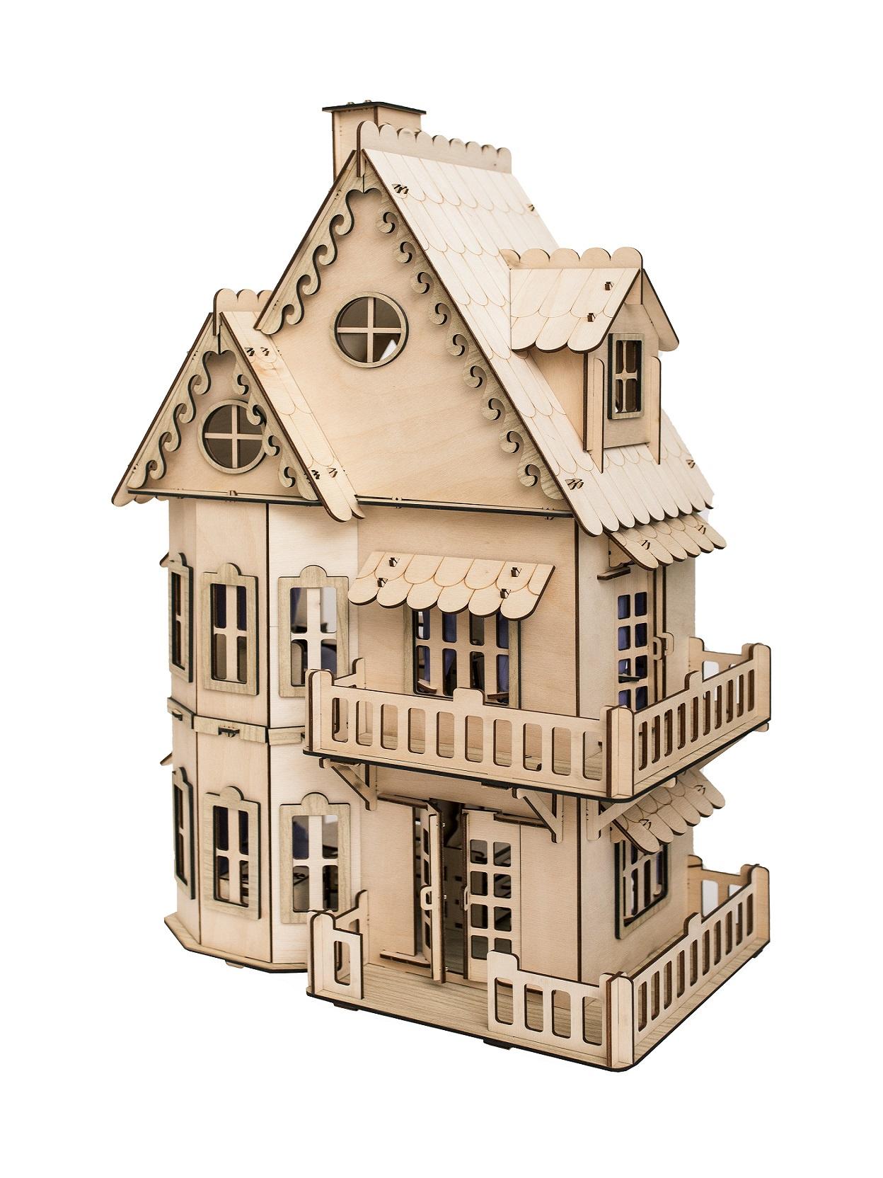Дом для кукол Чудо-дерево Кукольный домик DH001 светло-коричневый цена