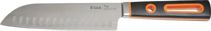 Нож сантоку Taller Вердж, TR-2066, черный, оранжевый, длина лезвия 18 см нож универсальный taller длина лезвия 13 см tr 2048