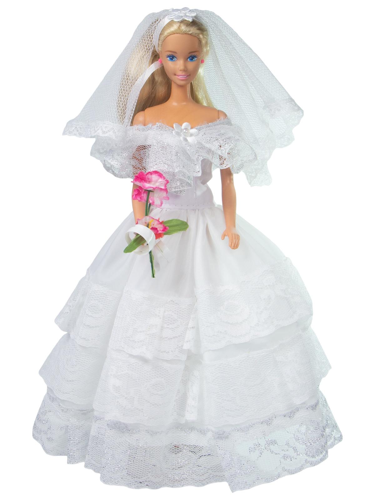 Одежда для кукол Модница Наряд невесты для куклы 29 см белый, серебристый