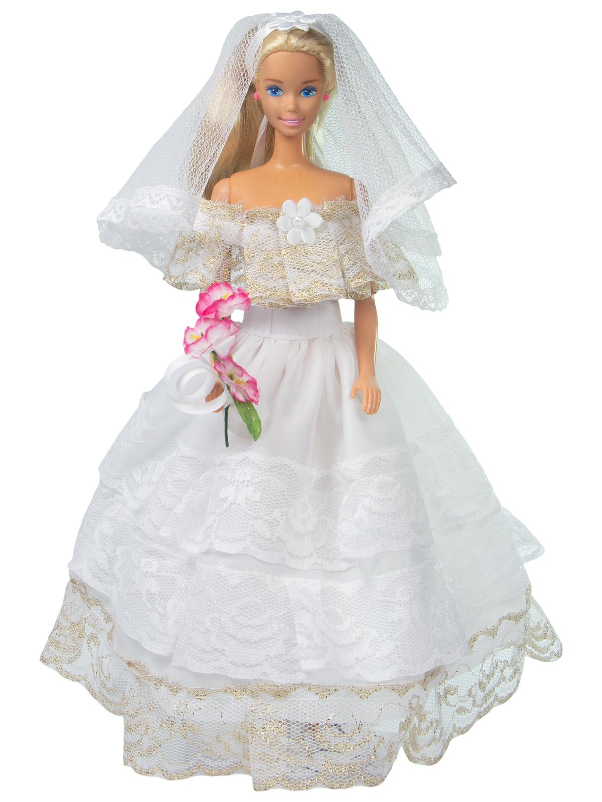 Одежда для кукол Модница Наряд невесты для куклы 29 см белый, золотой