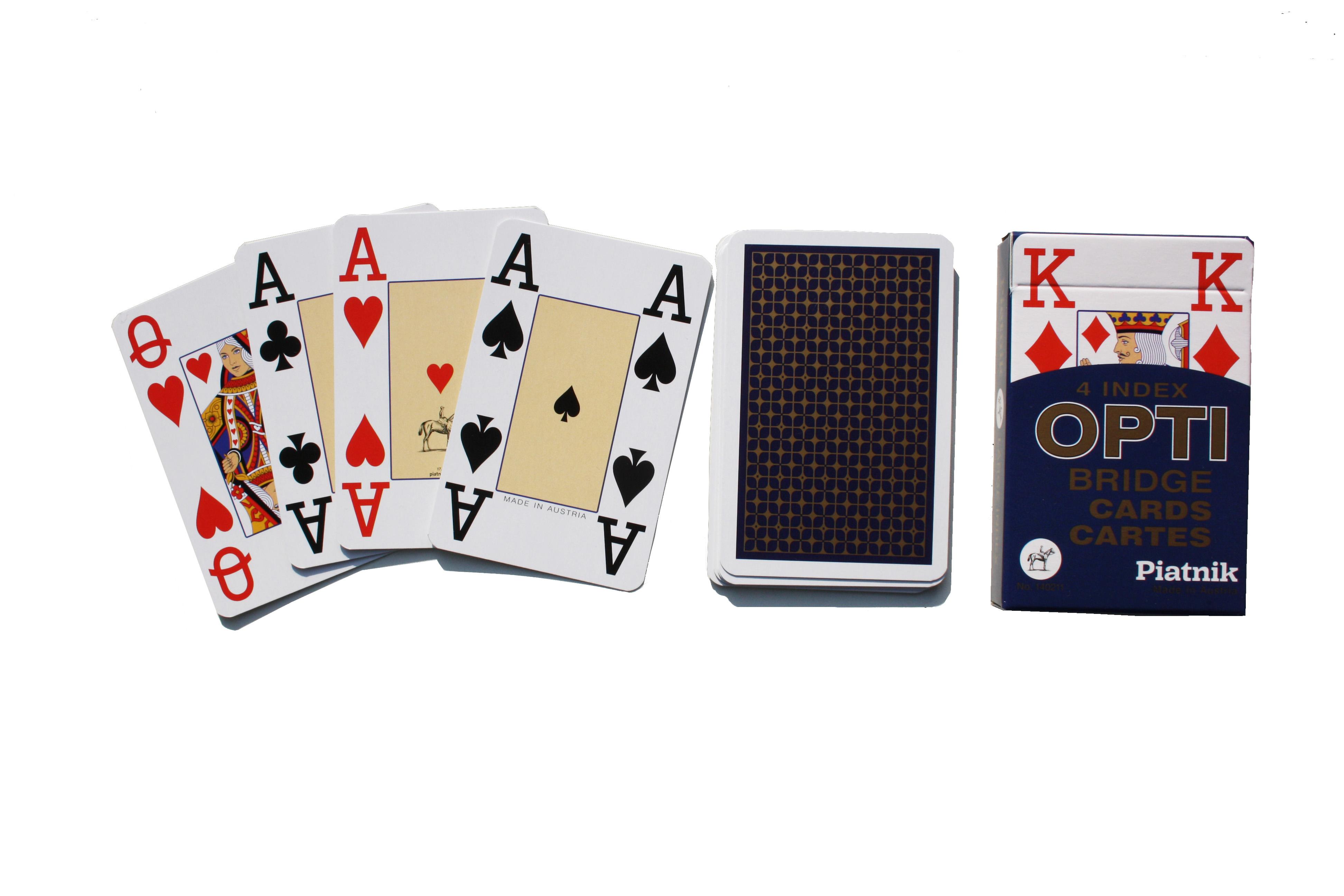 Игральные карты Piatnik Профессиональные Bridge OPTI, цвет: синий, 55 листов1402_синий1402_синийКарты Piatnik Bridge De Luxe подходят для профессиональных игроков в покер и другие карточные игры, так как имеют очень гладкую поверхность, высококачественное пластиковое покрытие и стандартный покерный размер. Размер карты: 6,2 х 9,1 см.