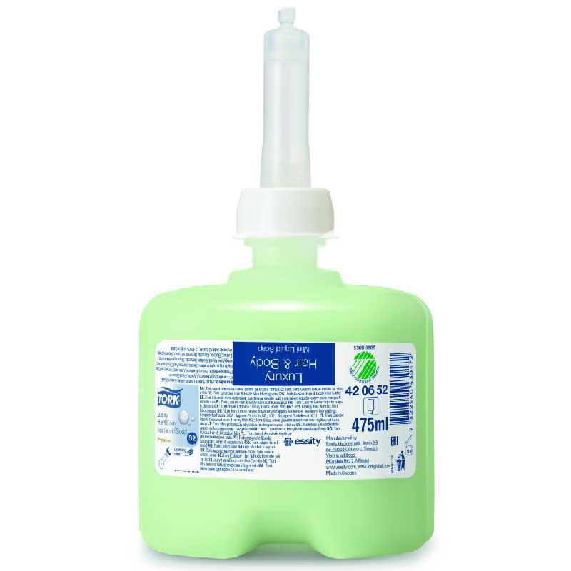 Жидкое мыло Tork S2, Premium, мыло-шампунь люкс для тела и волос, мини, 475 мл, 420652 мыло жидкое tork premium мини 475 мл картридж д рук