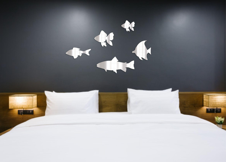 Украшение на стену Рыбы зеркальные наклейки декоративные наклейки на стену, Акрил contrast color suede elevator heel sneakers