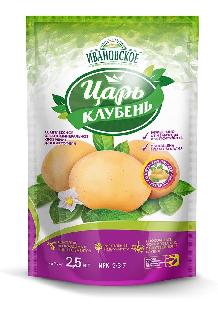 Удобрение Фермерское хозяйство Ивановское Царь-Клубень, серыйФР-00000097Комплексное органоминеральное удобрение для картофеля. Эффективно против проволочника фитофтороза Предназначено для основной и дополнительной подкормки картофеля.