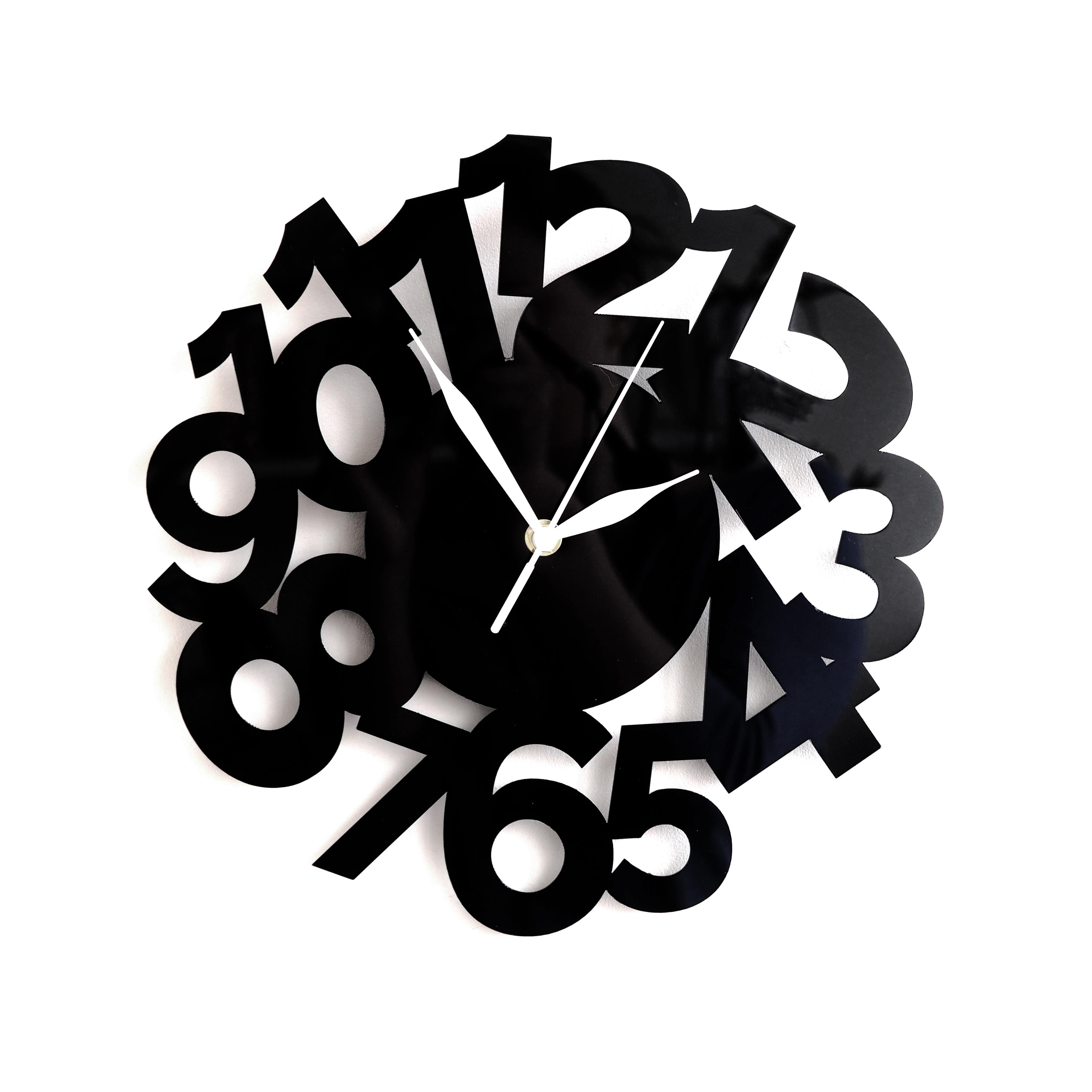 Настенные часы Roomton Funk, черные, 30 см, в стиле Лофт, черный