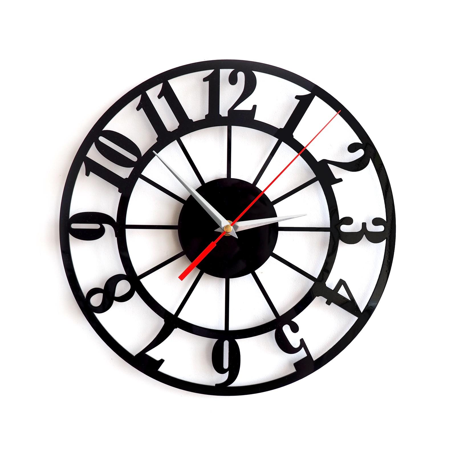 Настенные часы в стиле лофт черные 30 см, черный