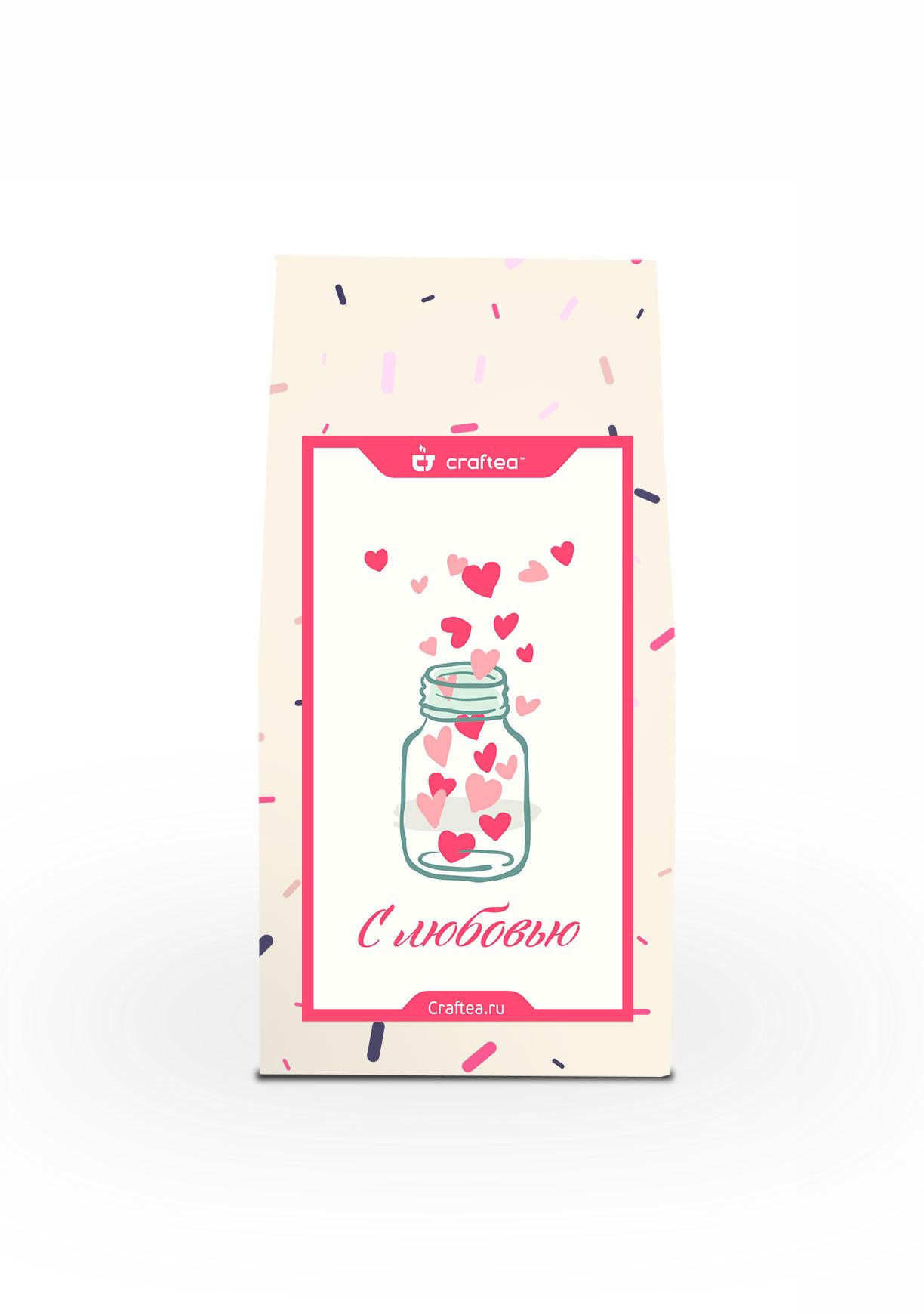 Чай листовой CrafTea Love U, 50 гр. подарочный чайный набор craftea honey