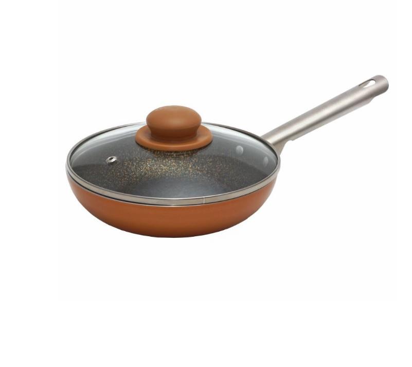 Сковорода глубокая 22см с металлической ручкой со стеклянной крышкой