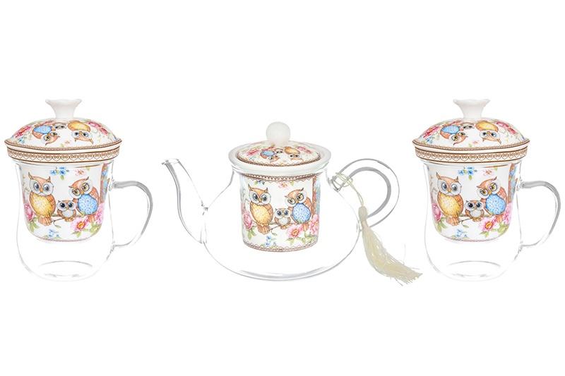 Набор - 2 кружки стеклянная с фарфоровым ситом 400 мл и чайник с ситом 600 мл Elan Gallery Совушки