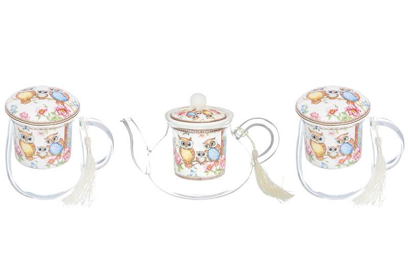 Набор - 2 кружки с фарфоровым ситом 400 мл и чайник с ситом 600 мл Elan Gallery Совушки