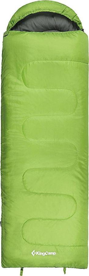 Спальный мешок KingCamp Oasis 200, KS8014, правосторонняя молния, зеленый, 220 х 75 х 4 см