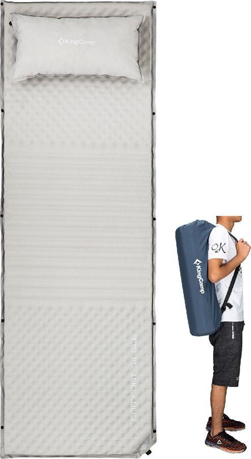 Коврик самонадувающийся KingCamp Comfort Single, KM3605, серый, 198 х 63 х 4 см коврик самонадувающийся kingcamp base camp comfort km3560 синий 196 х 63 х 5 см