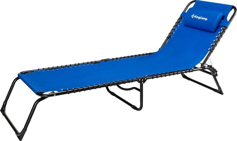 Шезлонг раскладной KingCamp Adjustable Camping Cot, KC3913, синий, 190 х 60 х 30 см кровать надувная kingcamp pumpair bed double km3607 синий бежевый 188 х 137 х 22 см