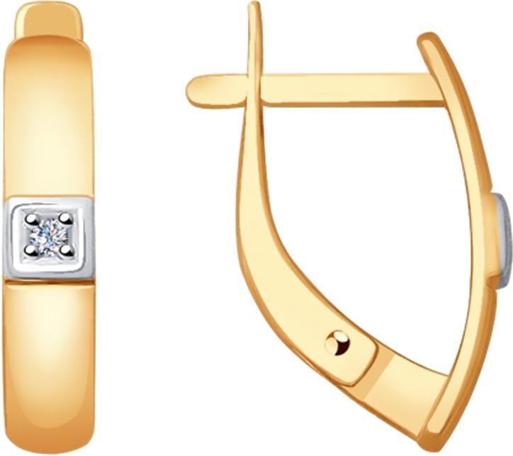 Серьги Diamant, золото 585, бриллиант, 51-220-00143-1Золото красноеИзделие выполнено из красного золота 585 пробы; вставка: 2 Бр Круг.