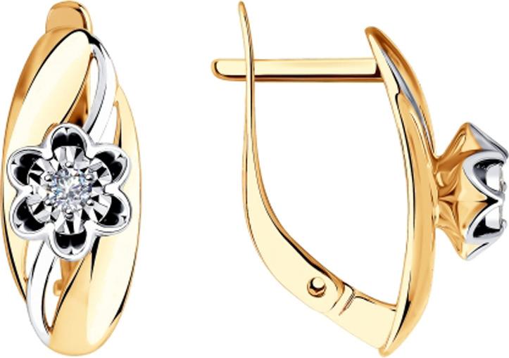 Серьги Diamant, золото 585, бриллиант, 51-220-00025-1Золото красноеИзделие выполнено из комбинированного золота 585 пробы; вставка: 2 Бр Круг.