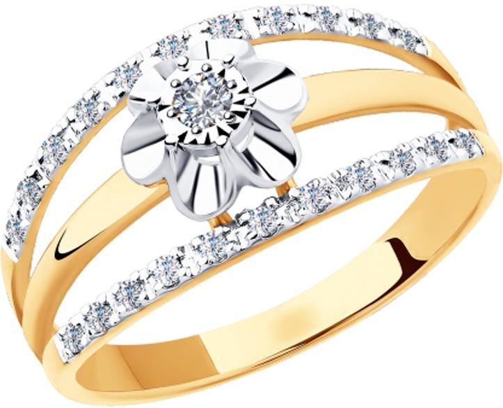 Кольцо Diamant, золото 585, бриллиант, 19,5, 51-210-00288-1ЗолотоИзделие выполнено из красного золота 585 пробы; вставка: 1 Бр Круг, 22 Бр Круг 1,00*1,10.