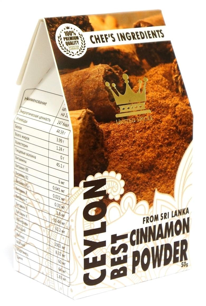 Корица United Spices Цейлонская молотая, Шри-Ланка, 50г, 50