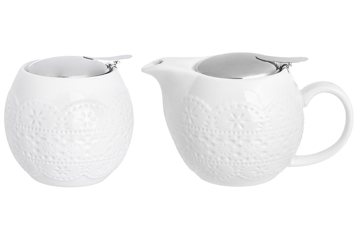 Набор 2 предмета - чайник 500 мл 16х10х9,5 см и сахарница 500 мл 10,5х10,5х9,5 см Elan Gallery Кружево