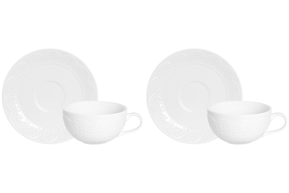Фото - Чашка для капучино с блюдцем Elan Gallery 350 мл 14х11х6 см Кружево (2 набора) [супермаркет] jingdong геб scybe фил приблизительно круглая чашка установлена в вертикальном положении стеклянной чашки 290мла 6 z