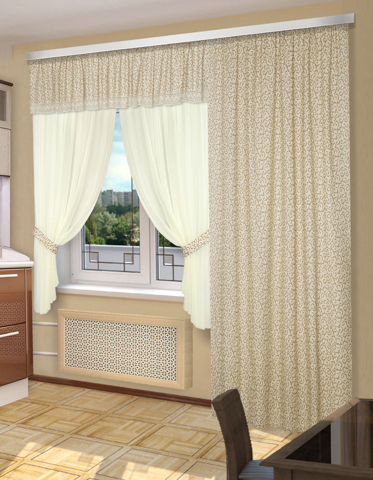 цена Комплект штор ТД Текстиль Балкончик, 29586, кремовый онлайн в 2017 году