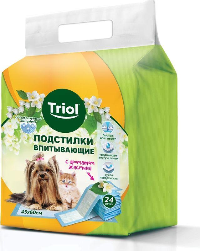 Подстилки впитывающие Triol, с ароматом жасмина, 30551017, 45 х 60 см, 24 шт