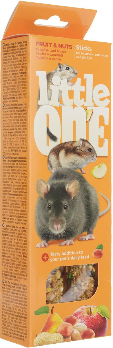 Лакомство для хомяков, крыс, мышей и песчанок Little One Sticks, с фруктами и орехами, 2 х 60 г лакомство для крыс и мышей зверюшки шарики подсолнух 10 г 5 шт