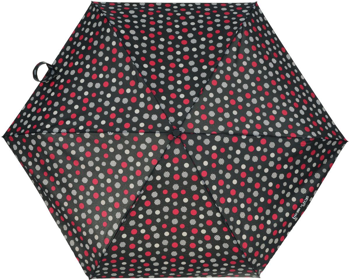 цена Зонт женский Isotoner, автомат, 4 сложения, цвет: черный, фуксия, серый. 09145-0813 онлайн в 2017 году
