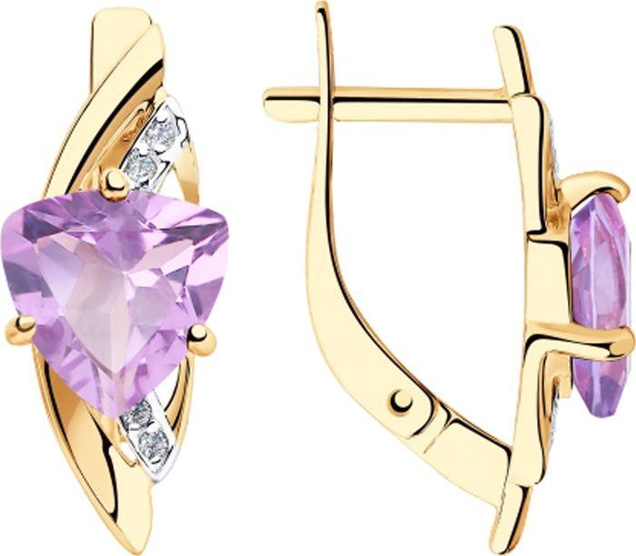 Серьги Diamant, золото 585, аметист, фианит, 51-320-00292-3Золото красноеИзделие выполнено из красного золота 585 пробы; вставка: 2 Аметист Триллион 8,00*8,00, 8 Фианит Круг 1,00.
