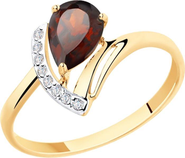 Кольцо Diamant, золото 585, гранат, фианит, 18, 51-310-00217-2Золото красноеИзделие выполнено из красного золота 585 пробы; вставка: 1 Гранат Груша 7,00*5,00, 8 Фианит Круг 1,00.