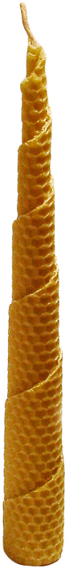 Свеча декоративная Мир свечей Соты, из пчелиного воска, коническая, 35-44, светло-коричневый, 3,5 х 18 см свеча из воска