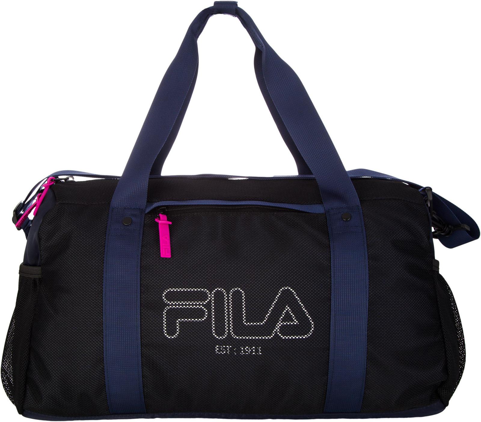 Сумка спортивная женская Fila Adult Bag, S19AFLBGU01-BM, 25 л, черный, синий, розовый шлепанцы мужские fila ultratouch slide цвет черный синий s19fflsp006 bm размер 43
